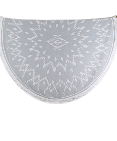Tribe Double-sided Cotton Round Beach Towel Gray