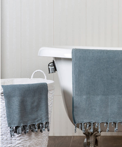 Stonewashed Velvet-Touch Turkish Towel with Hand-knotted Fringes