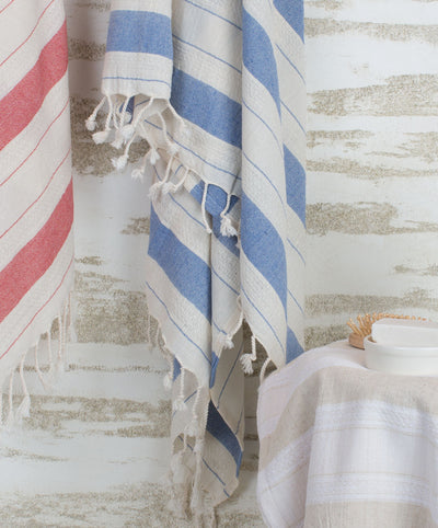 Vintage Striped Cotton Turkish Towel with Fringes