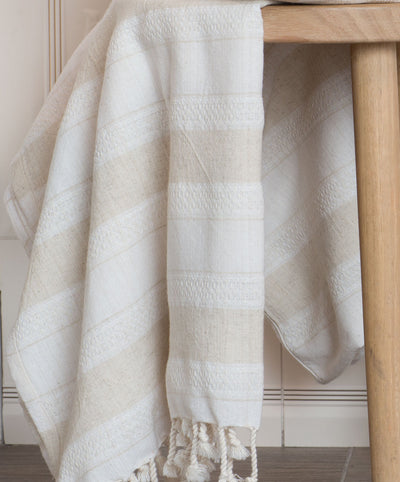 Creme Natural Linen and Cotton Beige Turkish Towel with Fringes