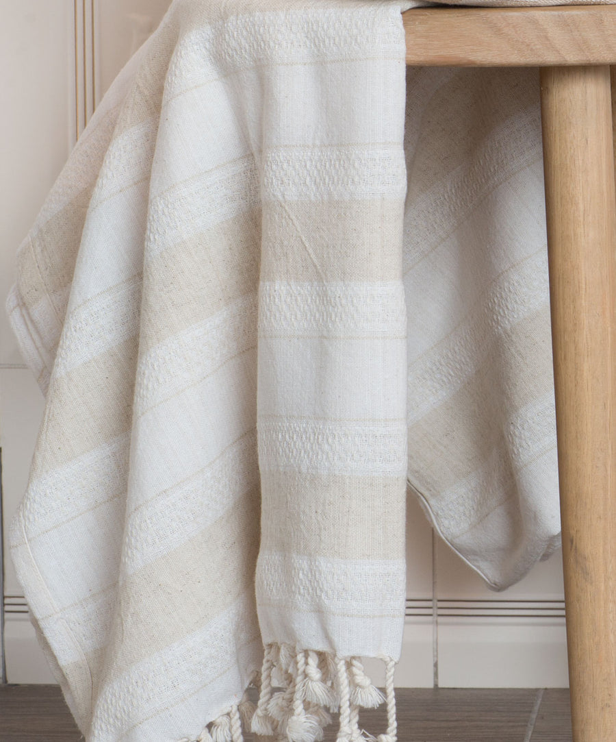 Creme Linen and Cotton Beige Turkish Bath Towel with Hand-knotted Fringes