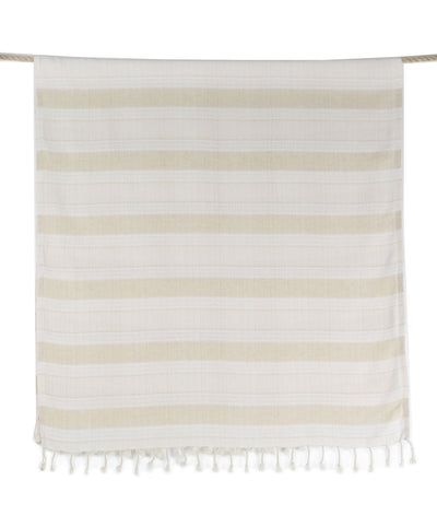 Creme Linen and Cotton Beige Bath Towel with Fringes