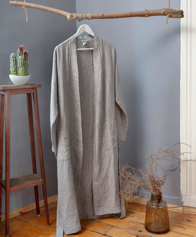 Handmade Luxury Linen Robe Gray