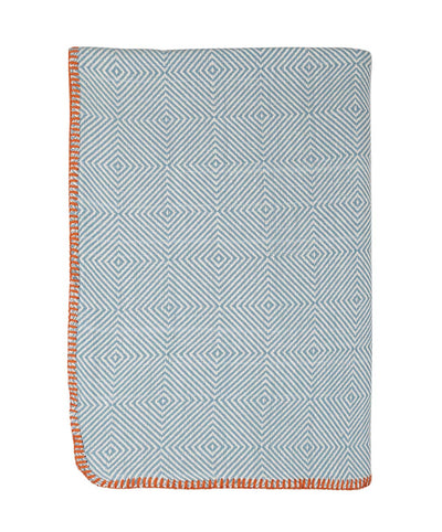 Herringbone Cotton Throw Blanket Mint Folded
