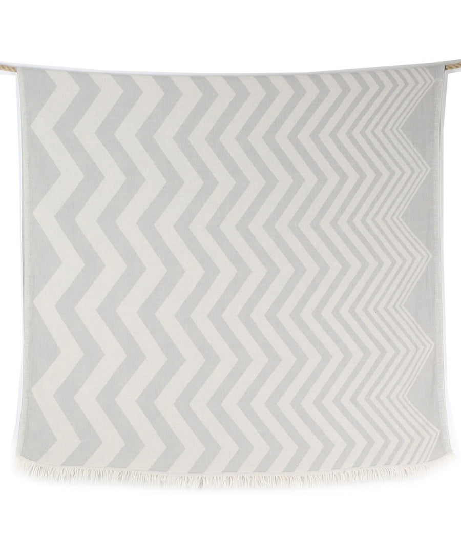 waves double sided gray beach towel