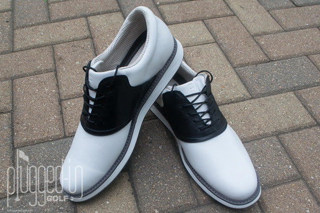 Plugged-In Golf on Jack Grace:  it has a secret: it's 1,875 shoes in one.  With three different shoe colors – white, grey, and black – and interchangeable saddles and laces, you could wear a different combination every day for over 5 years.