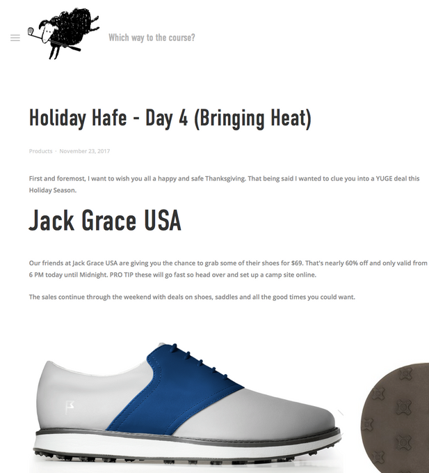"Christian Hafer calls Jack Grace ""some of the most comfortable shoes I have ever worn on a golf course"""
