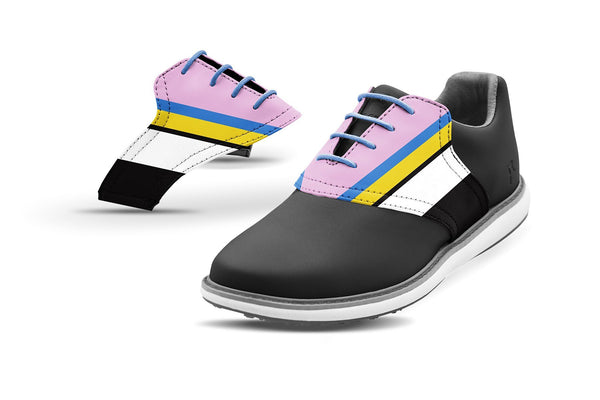 Women's Cabana Stripe Saddles On Grey Golf Shoe Collaboration By Glove It And Jack Grace USA