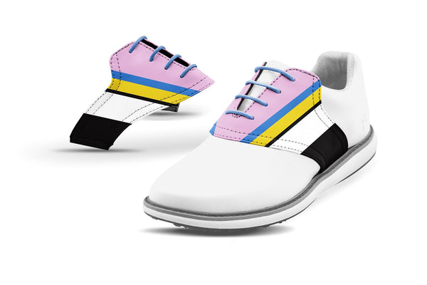 Women's Cabana Stripe Saddles On White Golf Shoe Collaboration By Glove It And Jack Grace USA