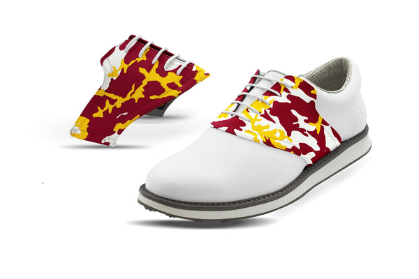 Men's Tempe Camo Alma Mater Saddles On White Golf Shoe From Jack Grace USA