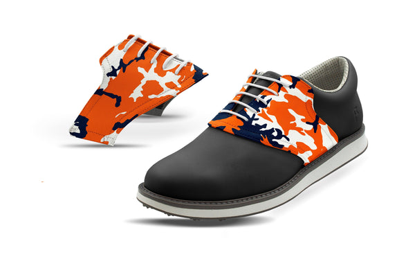 Men's Auburn Camo Saddles On Black Golf Shoe From Jack Grace USA