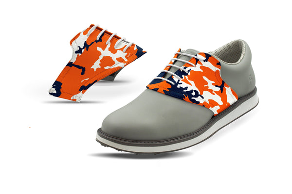 Men's Auburn Camo Saddles On Grey Golf Shoe From Jack Grace USA