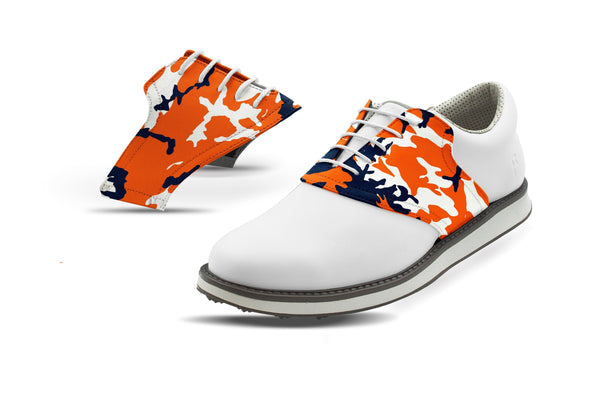 Men's Auburn Camo Saddles On White Golf Shoe From Jack Grace USA