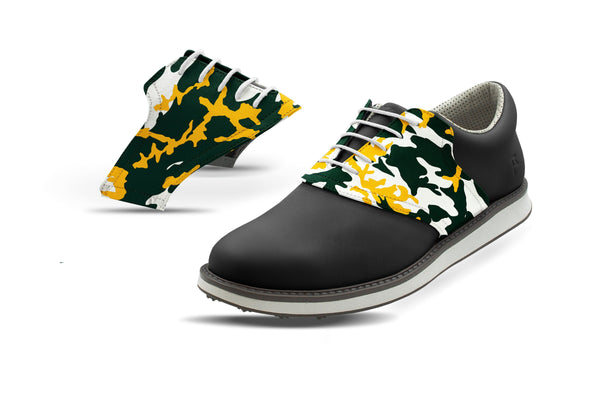 Men's Waco Camo Alma Mater Saddles On Black Golf Shoe From Jack Grace USA