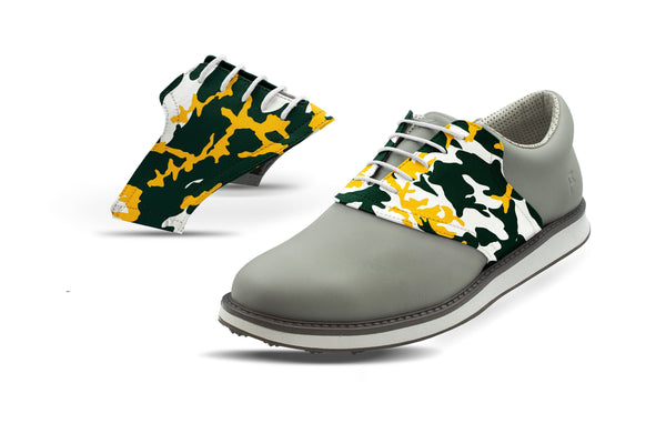 Men's Waco Camo Alma Mater Saddles On Grey Golf Shoe From Jack Grace USA