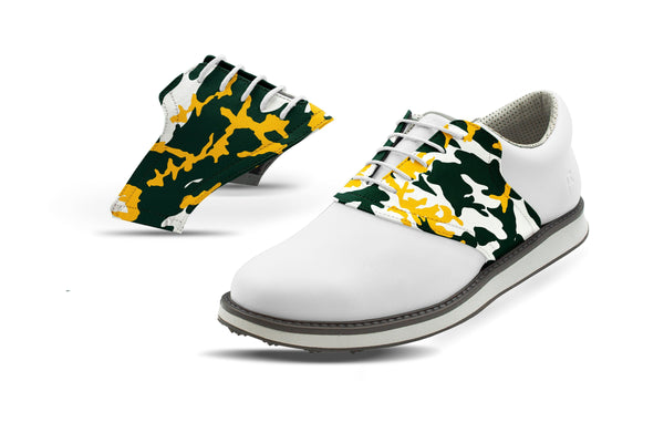 Men's Waco Camo Alma Mater Saddles On White Golf Shoe From Jack Grace USA