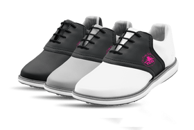 Women's Innovator 1.0 Golf Shoe with Caddy Girls Black Classic Saddles & Laces