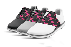 Women's Innovator 1.0 Golf Shoe with Caddy Girls Black Step & Repeat Saddles & Laces