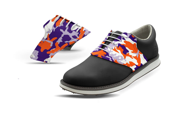 Men's Clemson Camo Alma Mater Saddles On Black Golf Shoe From Jack Grace USA