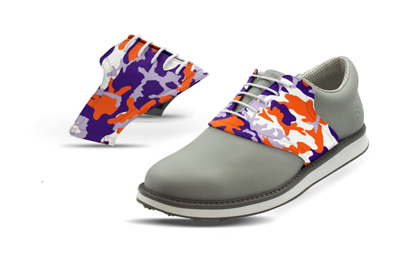Men's Clemson Camo Alma Mater Saddles On Grey Golf Shoe From Jack Grace USA