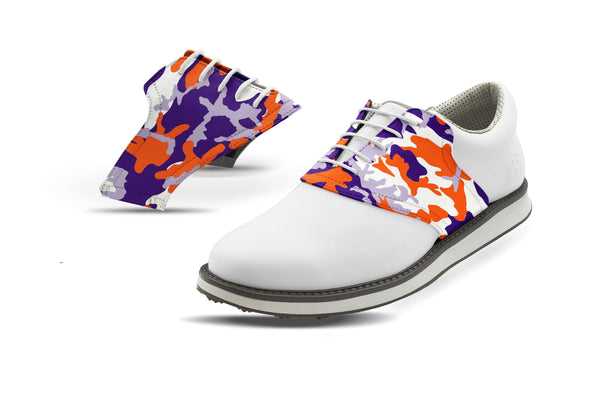 Men's Clemson Camo Alma Mater Saddles On White Golf Shoe From Jack Grace USA