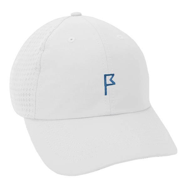 Women's White Dahlia Adjustable Hat with your choice of Logo Color
