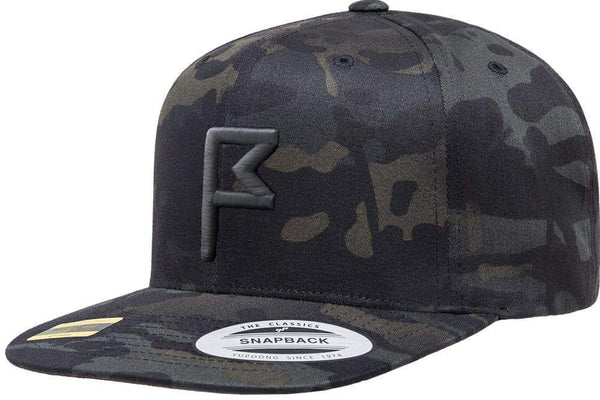 Men's Shadow Camo Snapback Hat with Charcoal Flagstick
