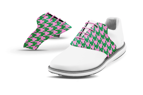 Women's LT Houndstooth Saddles On White Golf Shoe From Jack Grace USA