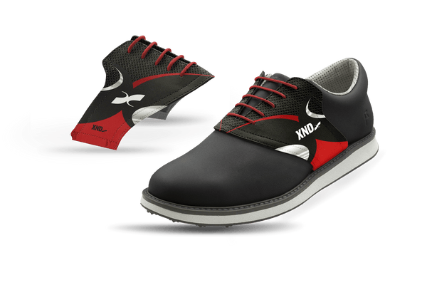 Men's Black Xendurance Saddles On Black Golf Shoe From Jack Grace USA