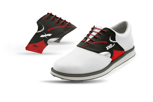 Men's Black Xendurance Saddles On White Golf Shoe From Jack Grace USA