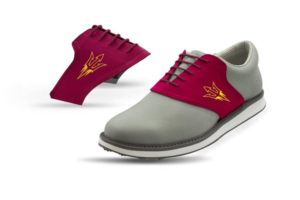 Men's ASU Maroon Saddles On Grey Golf Shoe From Jack Grace USA