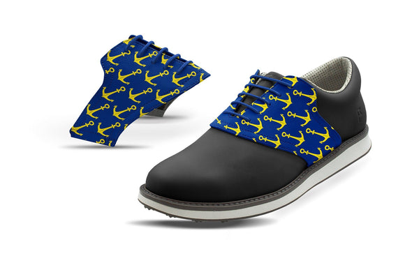 Men's Anchors Away Print On Cobalt Saddles On Black Golf Shoe From Jack Grace USA