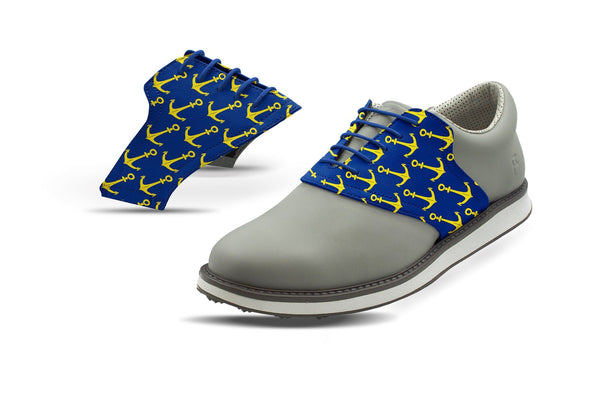 Men's Anchors Away Print On Cobalt Saddles On Grey Golf Shoe From Jack Grace USA