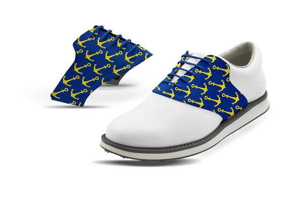 Men's Anchors Away Print On Cobalt Saddles On White Golf Shoe From Jack Grace USA