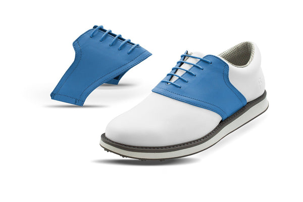 Men's Azure Saddles On White Golf Shoe From Jack Grace USA