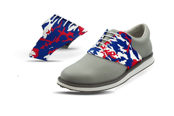 Men's Buffalo Pro Football Camo Saddles On Grey Golf Shoe From Jack Grace USA