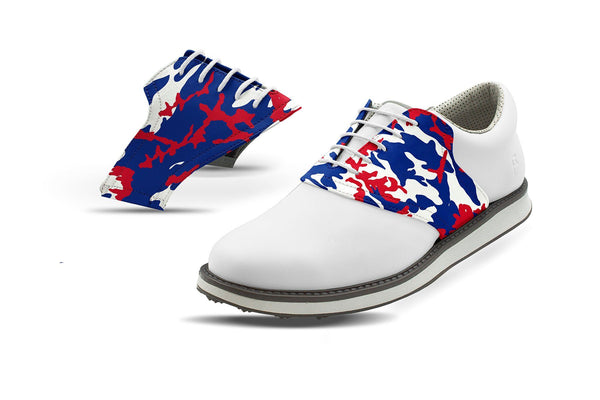 Men's Buffalo Pro Football Camo Saddles On White Golf Shoe From Jack Grace USA