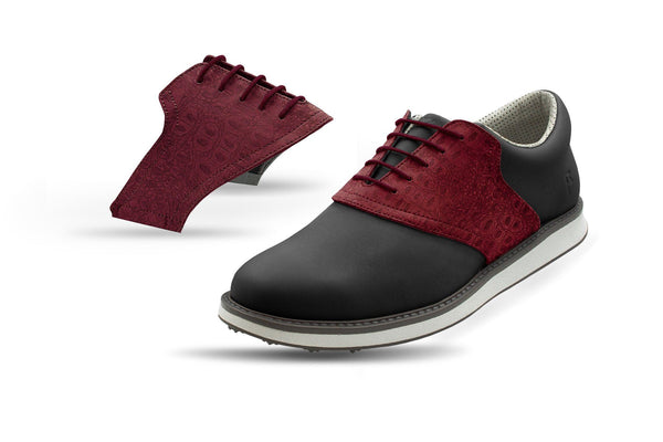 Men's Burgundy Croc Saddles On Black Golf Shoe From Jack Grace USA