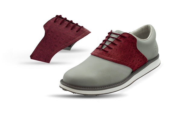 Men's Burgundy Croc Saddles On Grey Golf Shoe From Jack Grace USA