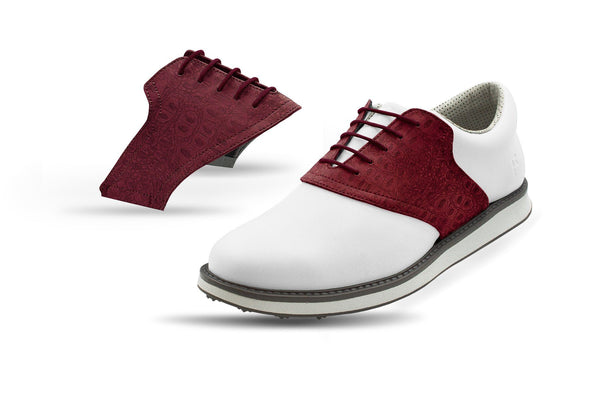 Men's Burgundy Croc Saddles On White Golf Shoe From Jack Grace USA