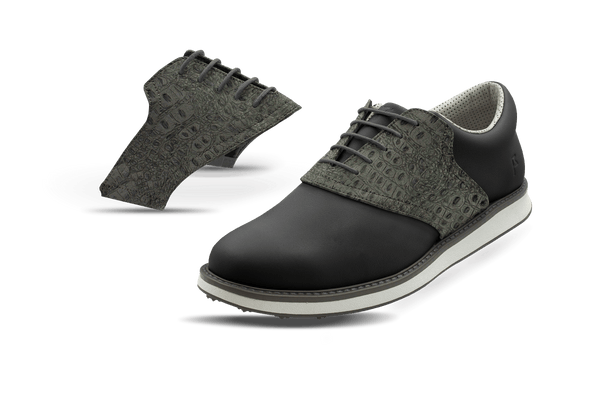 Men's Charcoal Croc Saddles On Black Golf Shoe From Jack Grace USA