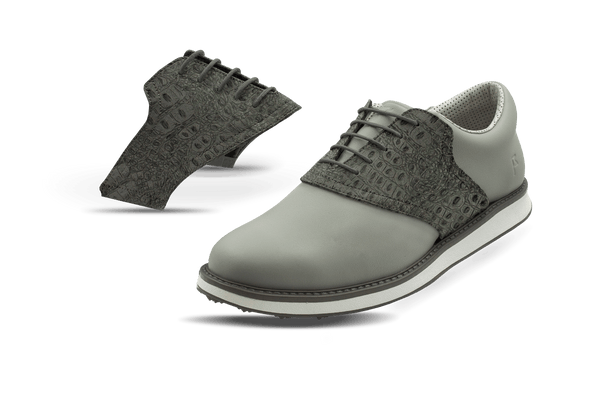Men's Charcoal Croc Saddles On Grey Golf Shoe From Jack Grace USA