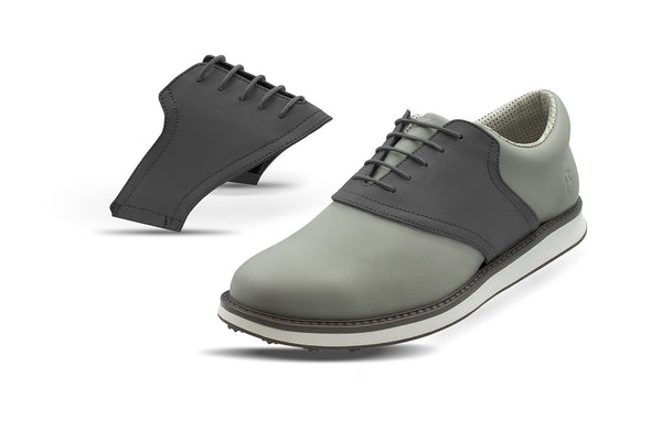 Men's Charcoal Saddles On Grey Golf Shoe From Jack Grace USA