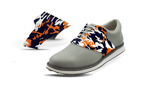Men's Chicago Pro Football Camo Saddles On Grey Golf Shoe From Jack Grace USA