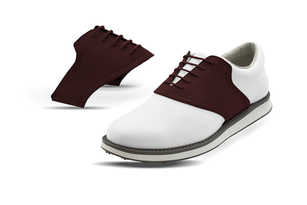 Men's Chocolate Saddles On White Golf Shoe From Jack Grace USA