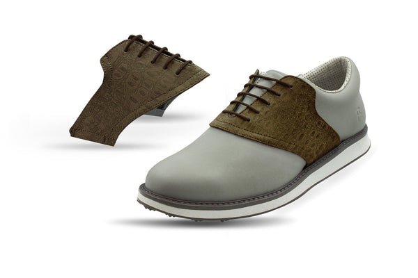 Men's Coffee Croc Saddles On Grey Golf Shoe From Jack Grace USA