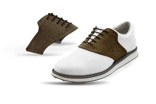 Men's Coffee Croc Saddles On White Golf Shoe From Jack Grace USA