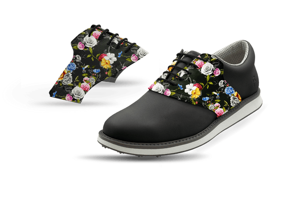 Men's Dark Roses Saddles On Black Golf Shoe From Jack Grace USA