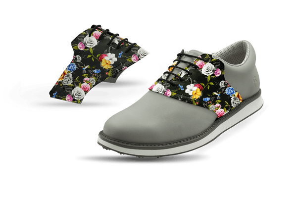 Men's Dark Roses Saddles On Grey Golf Shoe From Jack Grace USA