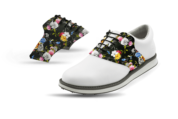 Men's Dark Roses Saddles On White Golf Shoe From Jack Grace USA